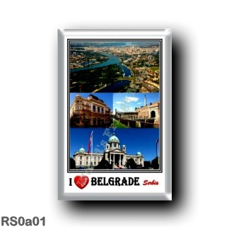 RS0a01 Europe - Serbia - I Love Mosaic - Aerial View of Belgrade - Pobednik - National Museum