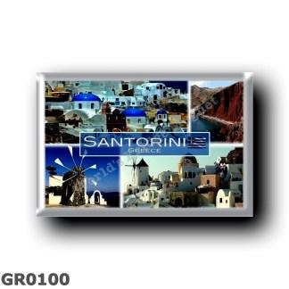 GR0100 Europe - Greece - Santorini - Windmill - Oia - Red Beach - Panorama