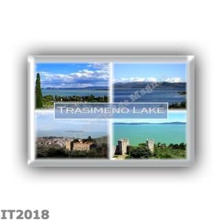 IT2018 Europe - Italy - Umbria - Trasimeno Lake - La Badia on Lake Trasimeno - The lake seen from Castiglione del Lago - Fortres