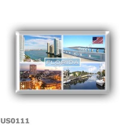 US0111 America - Usa - Florida - Mouth of Miami River at Brickell Key - Overseas Highway bridge - Downtown Tallahassee at night