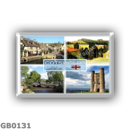 GB0131 Europe - United Kingdom - England - Cotswold - Castle Combe - Panorama Field - Bourton on the Water - Broadway Tower