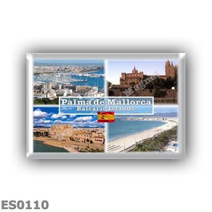 ES0110 Europe - Spain - Balearic Islands - Mallorca - Palma - View of Palma Bay - Almudaina Cathedral - Beach
