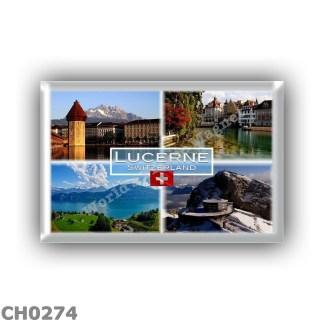 CH0274 Europe - Switzerland - Lucerne - Chapel Bridge - Old Town - Lake Lucerne - Pilatus Cable Car