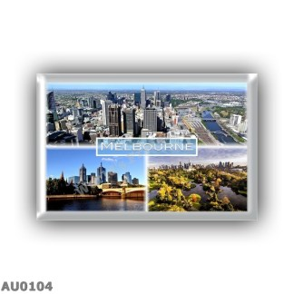 AU0104 Oceania - Australia - Melbourne - Downtown And Yarra River - Melbourn Skyline and Princes Bridge - Royal Botanic Gardens Victoria