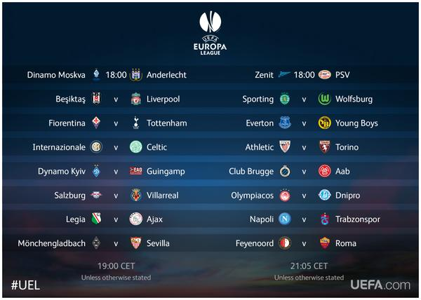 Europa League Round of 32 2nd leg: TV schedule and open ...