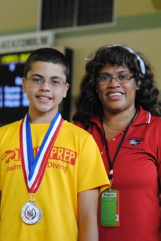 With Mom at the Junior Olympic Games in Houston.