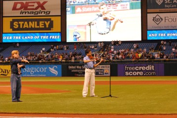 National anthem before Tampa Bay Rays and Texas Rangers pro baseball game