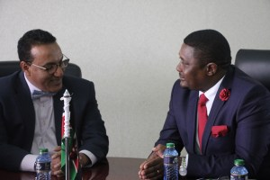 Hon Mzembi in discussion with the Minister of Tourism of Kenya, Hon Najib Balala - Nairobi - 24 August 2016