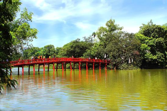 The Huc Bridge at the Hoan Kiem Lake in Hanoi Vietnam