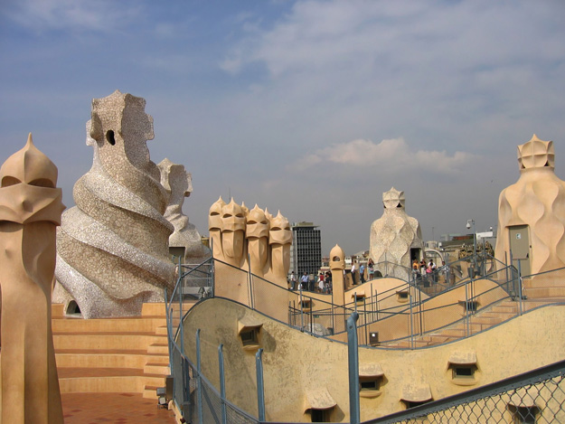 The rooftops of Casa Mila La Pedrera in Barcelona, Spain