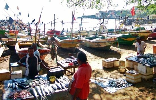 Fishermen and fishingboats lined up on the shore outside Galle Fortress Srilanka.