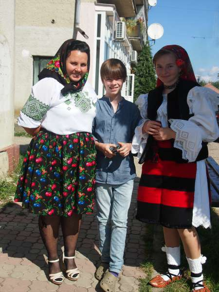 Village life in Romania. Traditional Maramures outfit