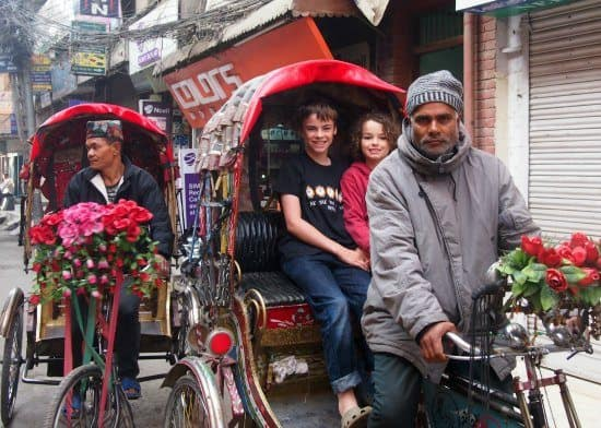 Nepal with kids, Kathmandu with kids cycle rickshaws