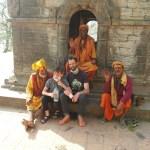 Travel with kids blog. Nepal with kids, Kathmandu with kids. Sadhus at Pashupatinath
