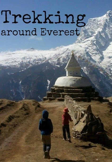 Trekking around Everest. Family travel in the Himalayas