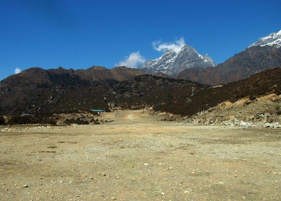 Sangboche or Sayangboche airport. Usually mostly used for helicopter deliveries of Everest Expedition gear.