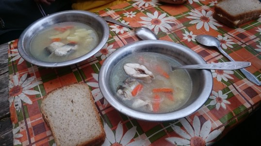 Yummy fish soup with Omul