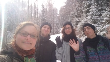 With Anton and friends on the way to Stolby - hello Winter!