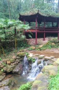 Qingcheng Mountain area with waterfalls