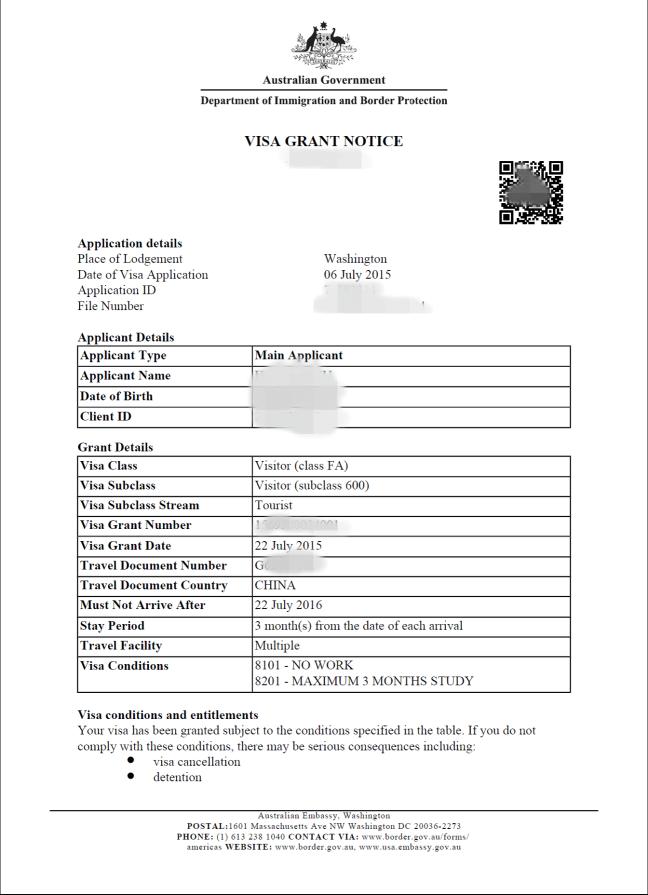 Visa Grant