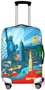 carry on suitcase with New York city cartoon art on it