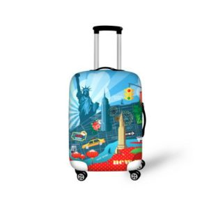 carry on suitcase with wheels and handle. Picture of New York on it.