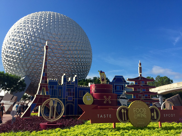 Front of the Epcot Centre with big white ball like structure