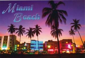 Night cityscape of street in Miami beach