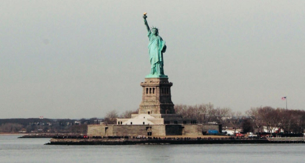 View of statue of liberty from Staten Island Ferry