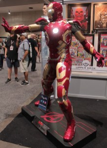 Iron man statue lit up
