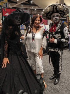 Black and white outfits Spanish style with white and black faces and large sombrero