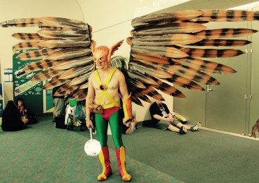 wings extended Hawkman strikes a pose