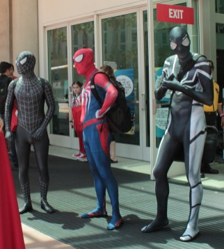 3 men in Spiderman unitards