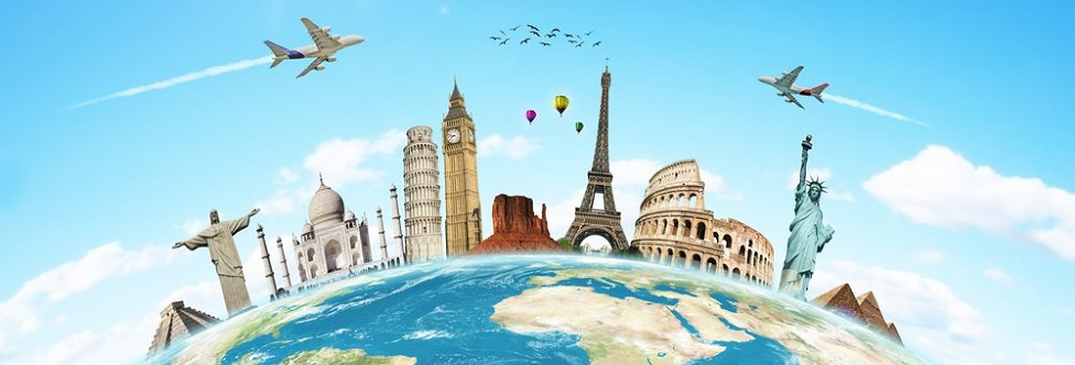 attractions of the world pictured on top of a cartoon globe as planes and air balloons fly above along with birds