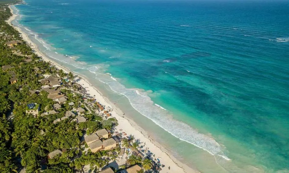 April Holiday Ideas - Depicts Tulum coast from above