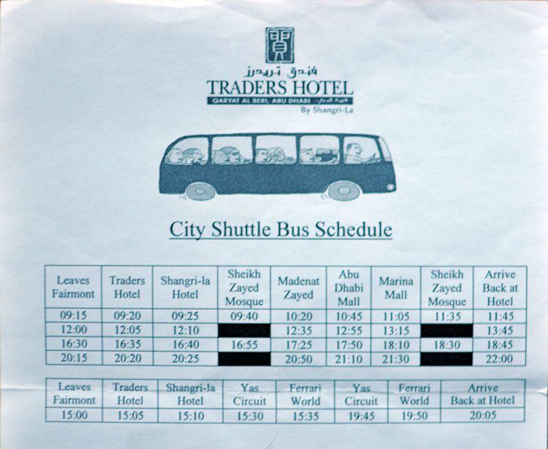 Busfahrplan Hotelbus