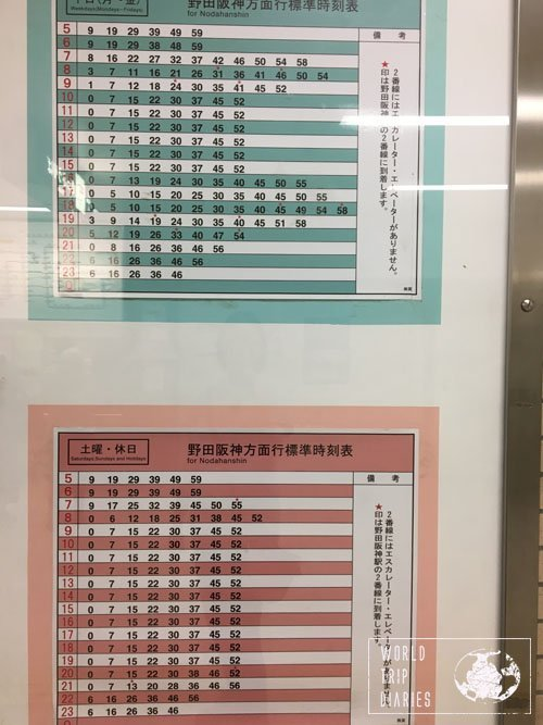 time tables in Osaka
