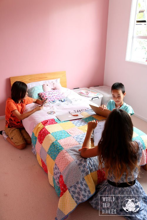 The 3 older kids playing word games