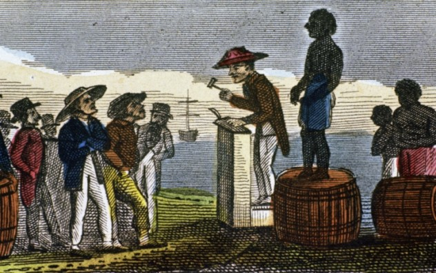 Rendering depicting slave auction