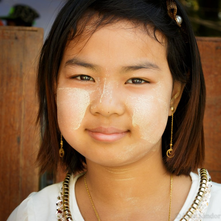 Burmese girl in Thanaka make up