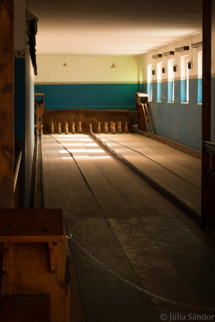 Bowling alley in Kolmanskuppe. A guy used to stand behind to lift the pins and role the ball back.