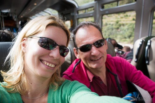 Fully excited: already on the train to Aguas Calientes. This is the only way (beside a 4-day hike) to get to Machu Picchu
