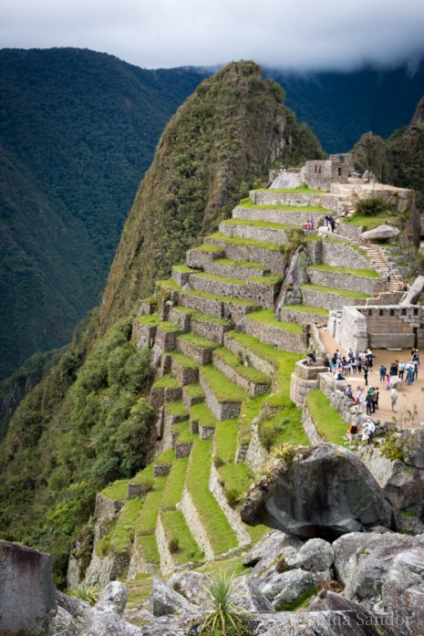 Terraces cover the hillside, which were used to grow vegetables and grains, and to protect the slopes from erosion.