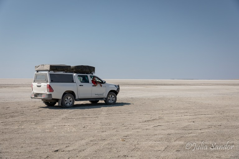 Werner driving to Kubu Island in Botswana