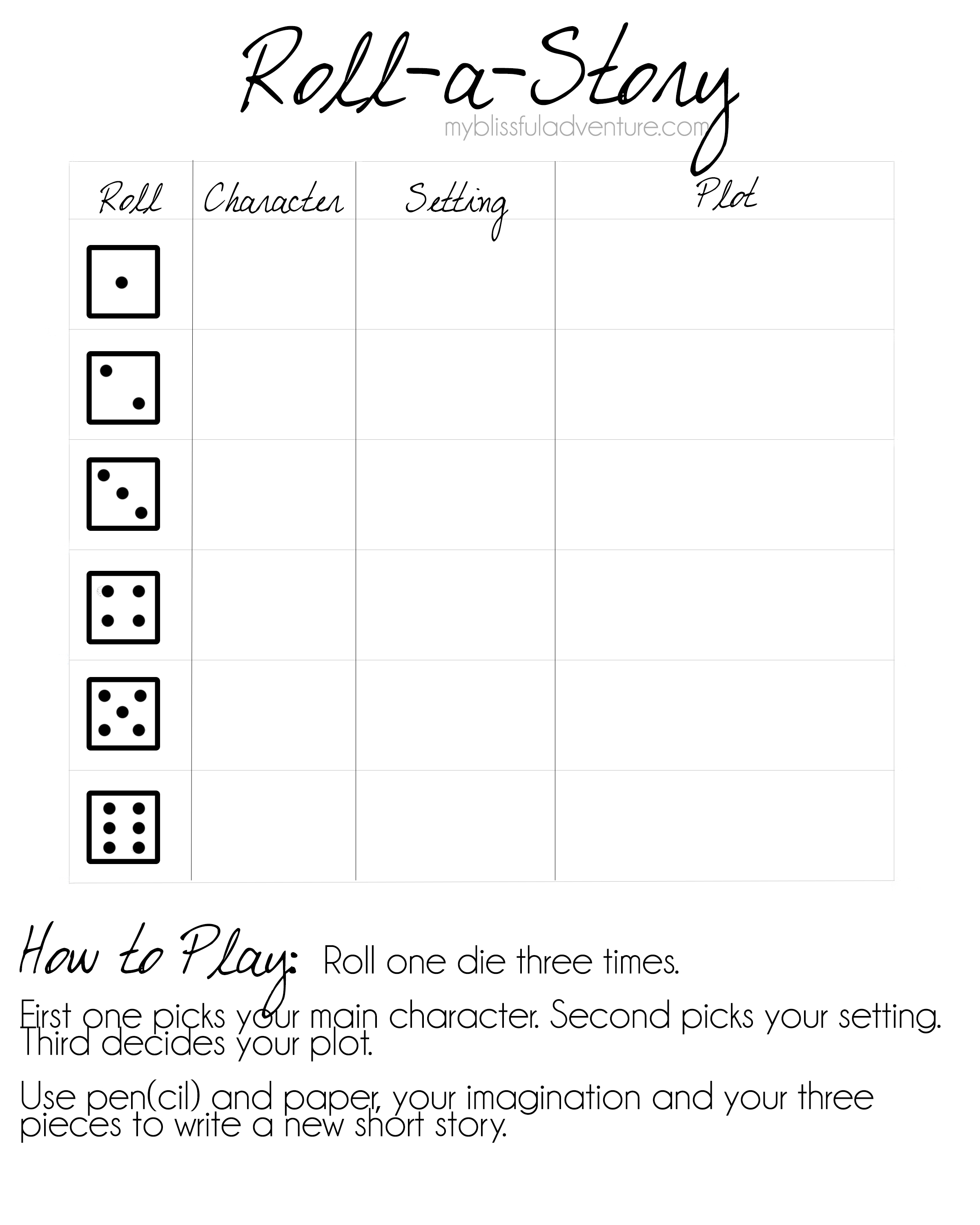 Roll A Story Printable