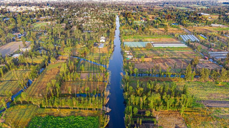 Aerial view of Xochimilco wetland, from Pixabay