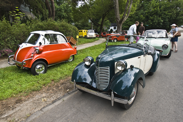 An Isetta, Bantam and Figaro at Gould's MicroCar in Netwon Mass.