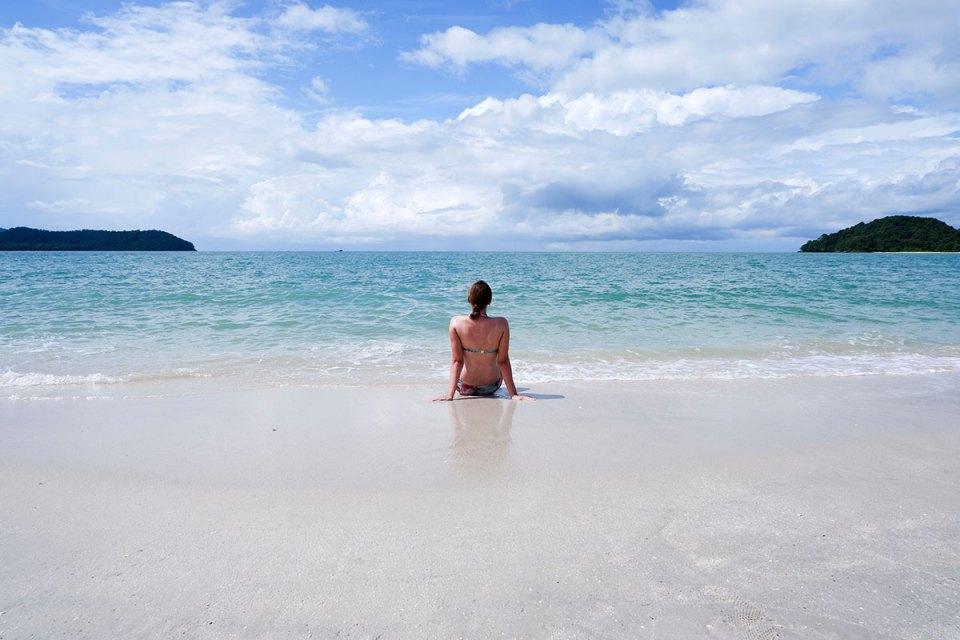 Sitting at the Langkawi beach
