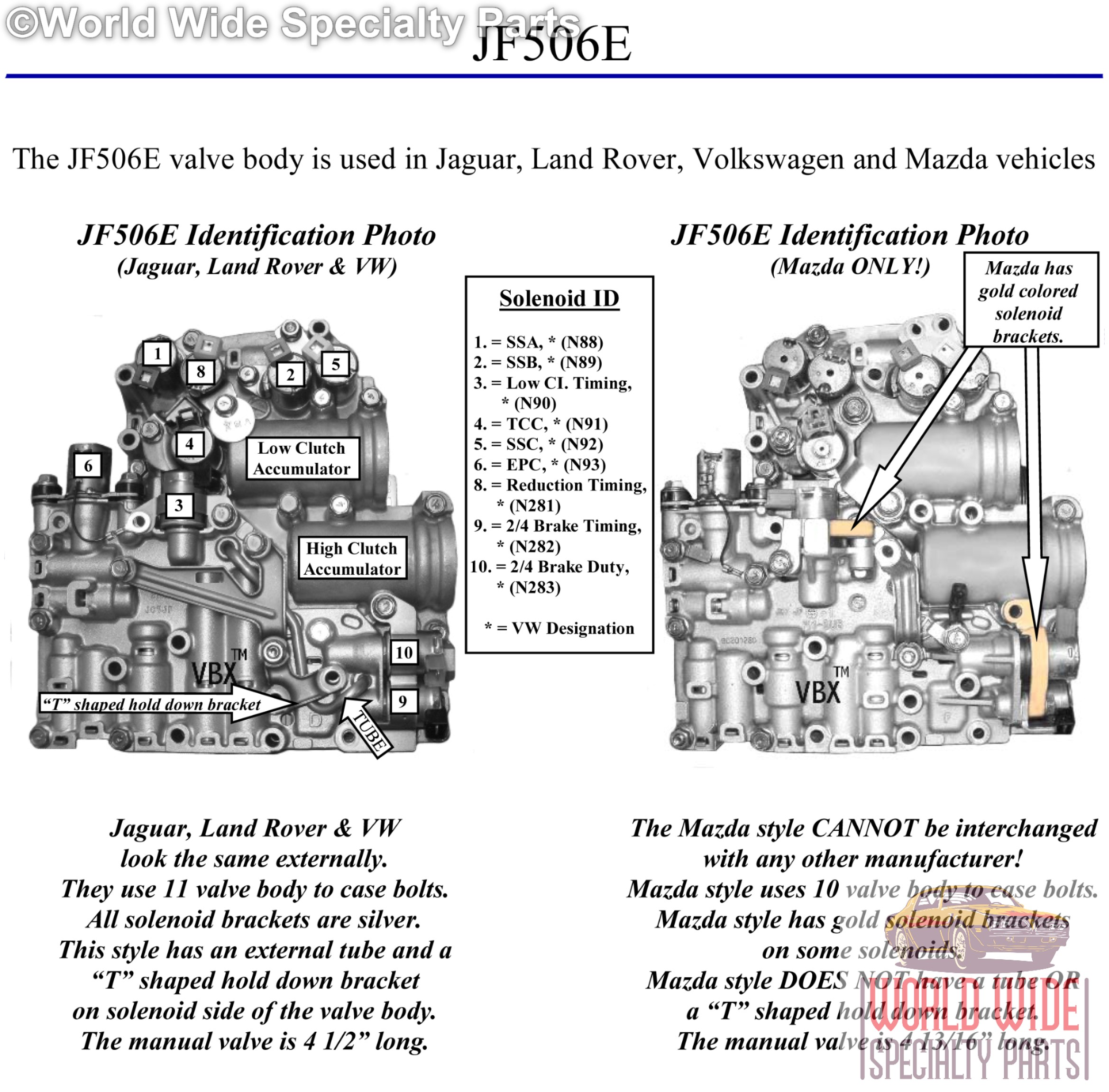 Volkswagen 09a Jf506e Valve Body Up Lifetime