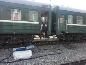 Crossing the tracks and not having an actual platform is no problem!